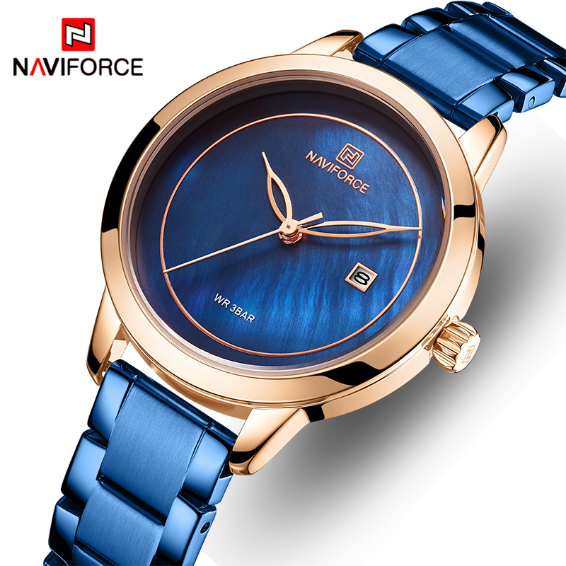 NAVIFORCE Women Watch Stainless Steel Lady Wristwatch Fashion Waterproof Ladies Watches Simple Blue Girl Clock Relogio Feminino