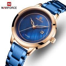 NAVIFORCE Frauen Uhr Edelstahl Dame Armbanduhr Mode Wasserdichte Damen Uhren Einfache Blau Mädchen Uhr Relogio Feminino