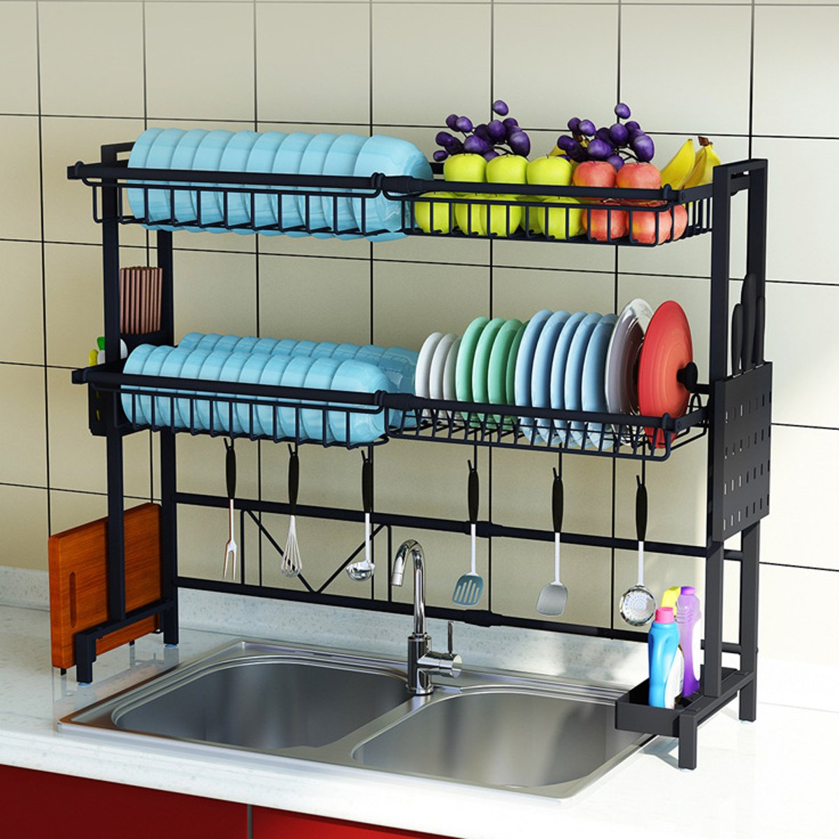 1/2Tier Multi-use Stainless Steel Dishes Rack Dual Sink Drain Rack Adjustable Kitchen Oragnizer Rack Dish Shelf Sink Drying Rack