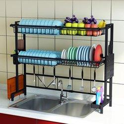 1/2Tier Multi-use Stainless Steel Dishes Rack Dual Sink Drain Rack Adjustable Kitchen Oragnizer Rack Dish Shelf Sink Drying Rack