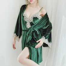 Winter Sexy Pajamas Set Women Sleepwear Suit Velvet Pink Homewear Pijama Woman Dress Robe Two Piece 2020