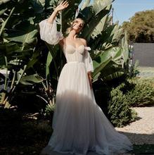 Свадебные платья в стиле бохо цвета шампанского из тюля со съемными