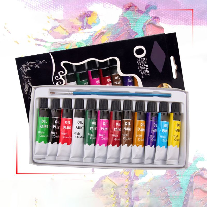12 цветов масляной краски ing краска для рисования пигмент 12 мл трубки с принадлежности художественные Кисти