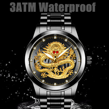 Watch Business Dragons Non-Mechanical FOU99 Waterproof Men's Golden Middle-Aged Suitable-For