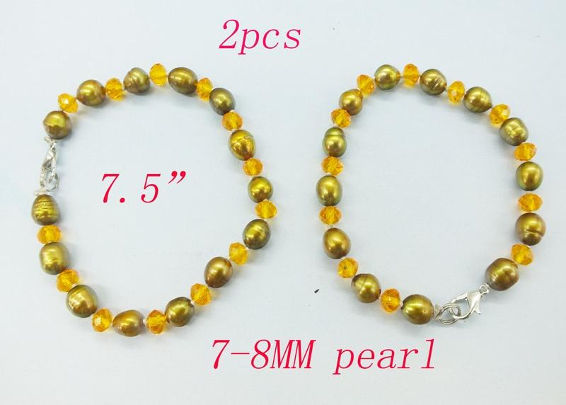 """Промо-Акция! 4 мм натуральный жемчуг браслет 7,5"""" - Metal Color: Promotion  2PCS"""