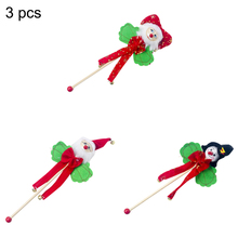 3pcs New Christmas Wooden Rocking Bell Rattle Childrens Toys Non-Woven 3d Santa Claus Snowman Bells Kids Gift
