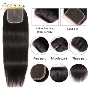 Image 3 - Nadulaヘアブラジルストレートヘア閉鎖10 20インチ無料/中部pu/スイスレース閉鎖ナチュラル色のremy毛織り