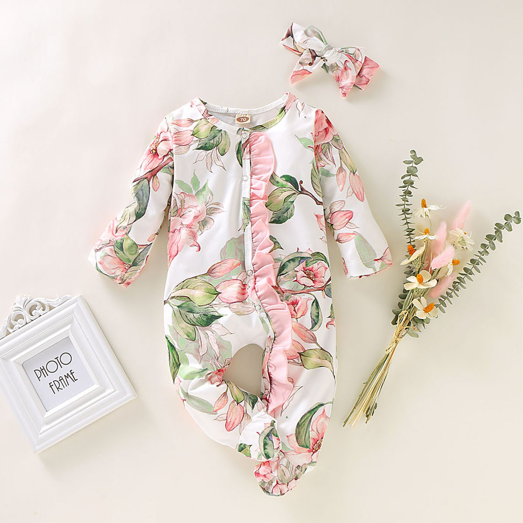 Newborn Baby Girl Romper 2019 New Autumn Long Sleeve Romper Floral Print Jumpsuit Warm Baby Wrapped Foot Romper 6 12 18 Months