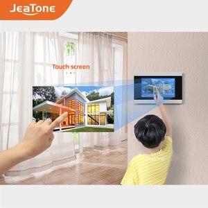 Image 5 - Jeatone visiophone avec écran tactile de 7 pouces, wi fi IP, interphone vidéo pour 4 appartements séparés, compatible télécommande par téléphone