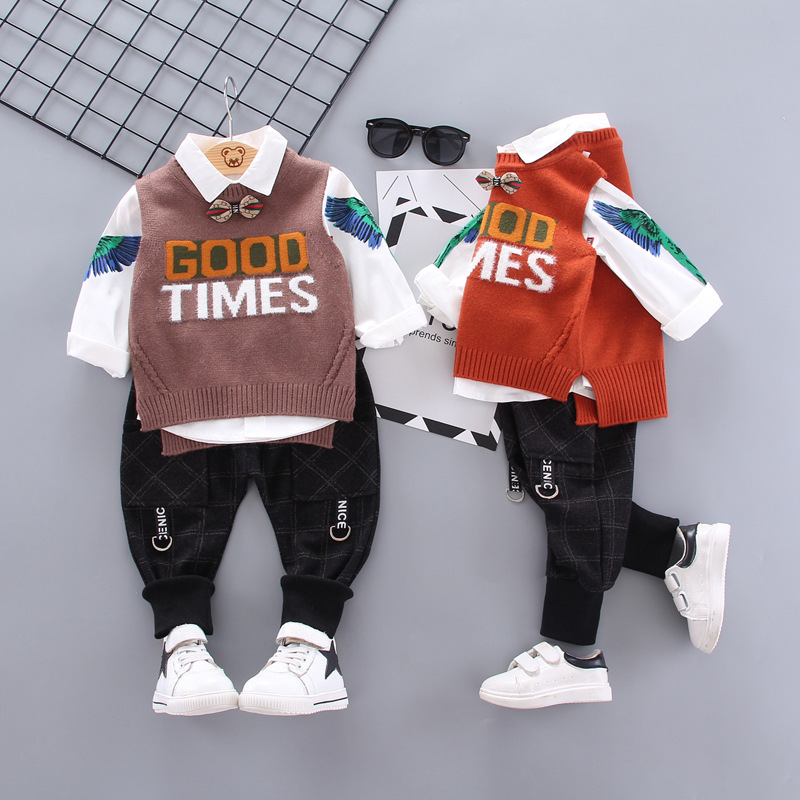 0 4Yrs Boy Clothes Fashion Turn down Collar Print Shirt Sweaster Trousers Three Piece Suit Children Clothing Kids Leisure Vest in Clothing Sets from Mother Kids
