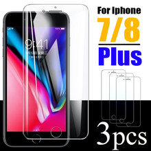 Vidro protetor para apple iphone 8 plus seguro filme temperado lphone vidro i telefone 7 8 plus 7 mais protetor de tela ihone tremp 3 peças