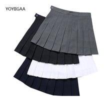 Новые женские летние плиссированные юбки с высокой талией однотонные