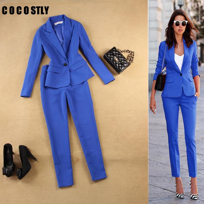 Pant Suits Set Women's Autumn Female Professional Office Lady Blazer Slim Blue Suit Jacket+ Pants Feet Pants Two Sets