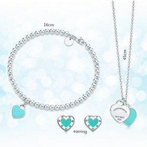Стерлинговое Серебро 925 классическое модное эксклюзивное голубое эмалевое женское ожерелье в форме сердца, комплект праздничного подарка