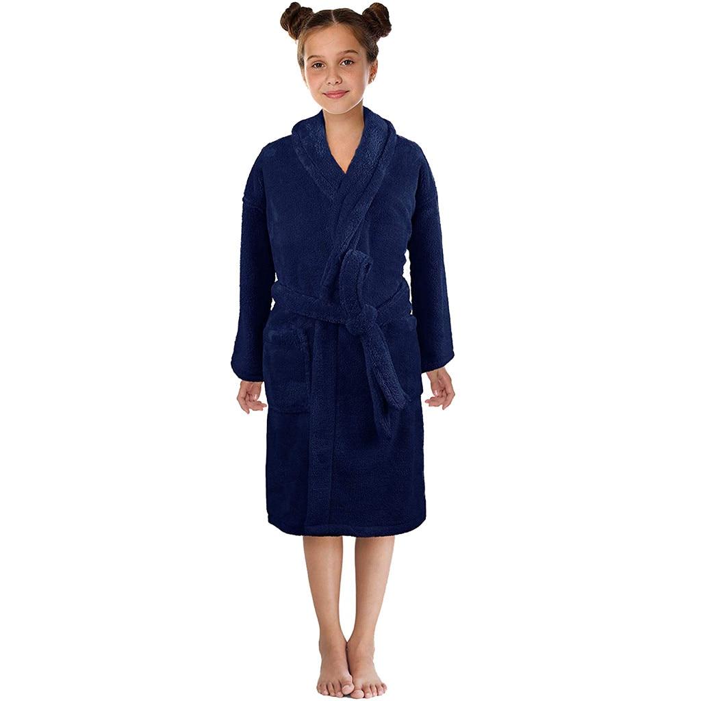 Kids Bathrobes Age 18m-9t,Pajama Bath Towel Solid Silk Satin Belt for Toddler Baby Boys Girls Soft Fleece