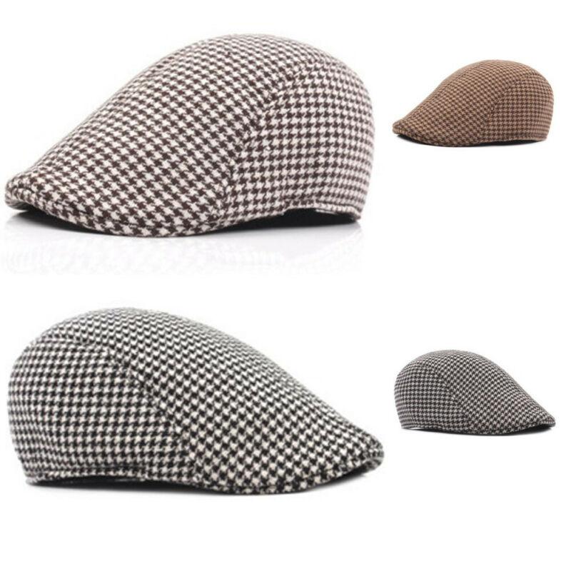 Women's Men's Plaid Newsboy Golf Driving Hat Houndsmooth Beret Cap Peaked Hat Khaki Gray Coffee