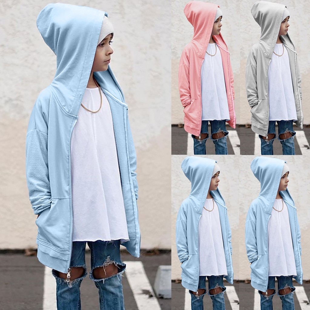 Children Kids Boys Girls Long Sleeve Zipper Outerwear Hooded Coat Cardigan
