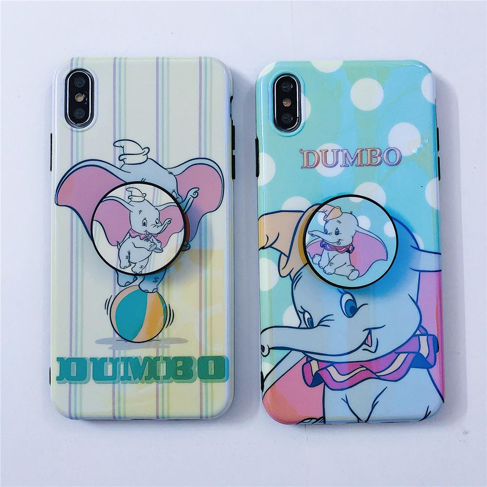 Image 3 - Flying Elephant Blue Light Cute Cartoon Dots Stand Holder Soft Phone Case For iPhone X Xr Xs 11 Pro Max 8 7 6 6s Plus Back Cover-in Fitted Cases from Cellphones & Telecommunications