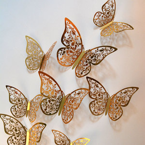 12Pcs/Set Golden 3D Hollow Out Paper Butterfly Wall Sticker Holiday Party Shopping Window Home Decor For Kids Room Sticker Mural