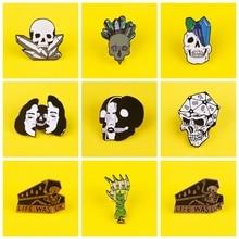 Punk Dark Skulls Badges for Backpack Skeletor Enamel Pins for Backpacks Badges for Clothes Brooch Clothes Lapel Pin Badge Gifts punk dark brooches enamel pins skull skeleton coffin lapel pins for backpacks badges for clothes brooch clothes lapel pin badge