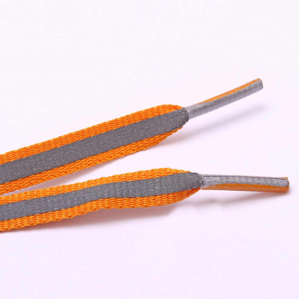 1 par de cordones de zapatilla para corredor reflectante planos, cordones luminosos de seguridad Unisex para zapatillas deportivas de baloncesto