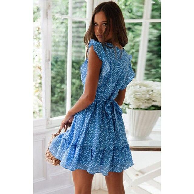 Летнее новое женское платье, модное сексуальное пляжное платье с v-образным вырезом и цветочным принтом в стиле бохо, короткое платье с оборками на талии 4