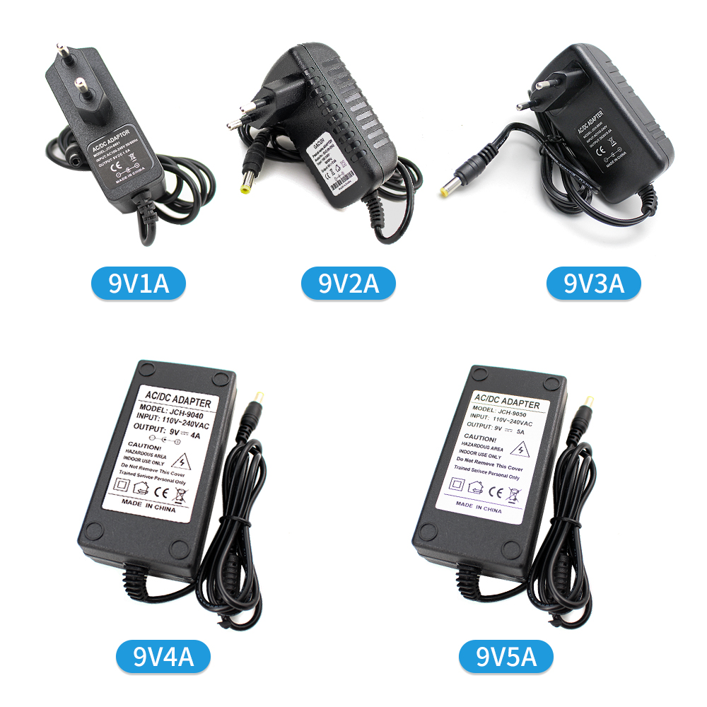 Unviersal 9V Switching Power Supply Adapter Charger 1A 2A 3A 4A 5A 9 V Volt Power Supply Fonte AC DC 220V To 9V MeanWell SMPS