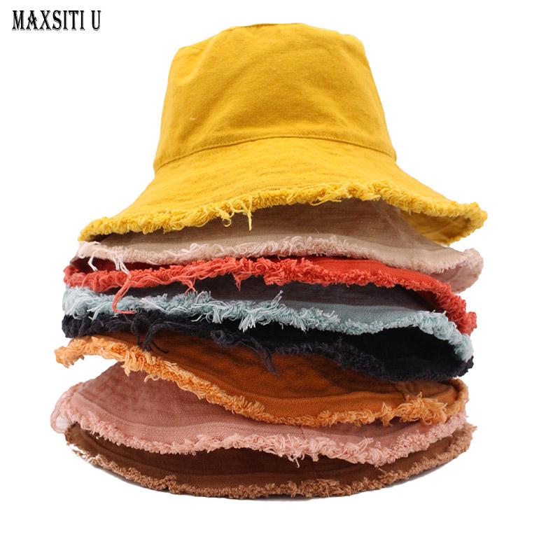MAXSITIU Cotton Fringed Fisherman cap Soft Aluminum Wire Shape Water Wash Bucket hat Women's Four Seasons Solid outing basin hat
