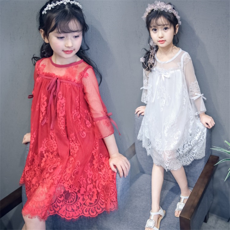 Long Sleeve Flower Lace Evening <font><b>Dresses</b></font> For Girls 2019 High Quality <font><b>Kids</b></font> Lace <font><b>Dress</b></font> Baby Girls Wedding <font><b>Cocktail</b></font> Party Clothing image