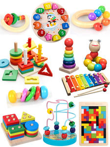 Wooden-Toys Rattles Educational-Toy Rainbow-Blocks Montessori Music Baby Colorful Kids