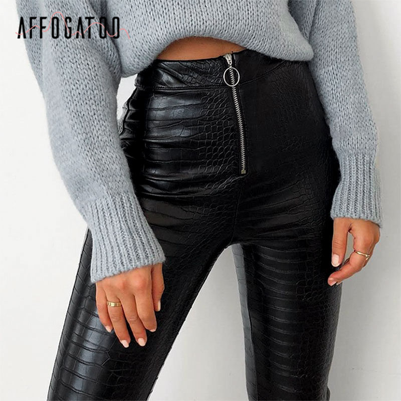 <font><b>Affogatoo</b></font> <font><b>Sexy</b></font> Vintage snake <font><b>pu</b></font> <font><b>leather</b></font> skinny pants women Streetwear high waist <font><b>zipper</b></font> female pants punk pencil spring trousers image