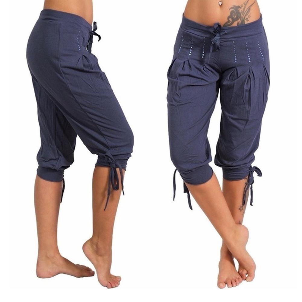 Women Casual Low Rise Drawstring Rhinestone Pleated Capri Calf-Length Pants Trousers