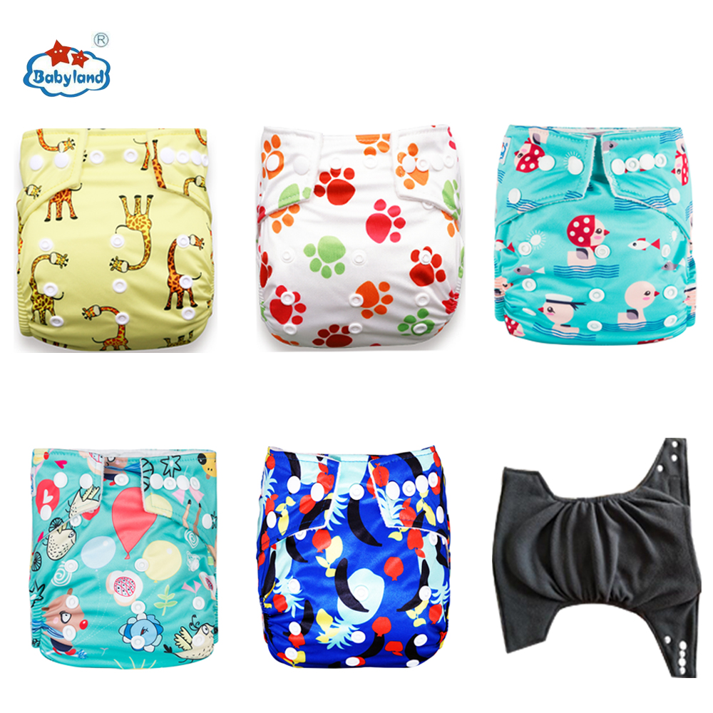 Babyalnd Panales Ecologicos Bamboo Charcoal Nappy 5pcs A Lot Reusable Baby Pocket Diapers Day Night For 0-2 Years 3-15KG Baby