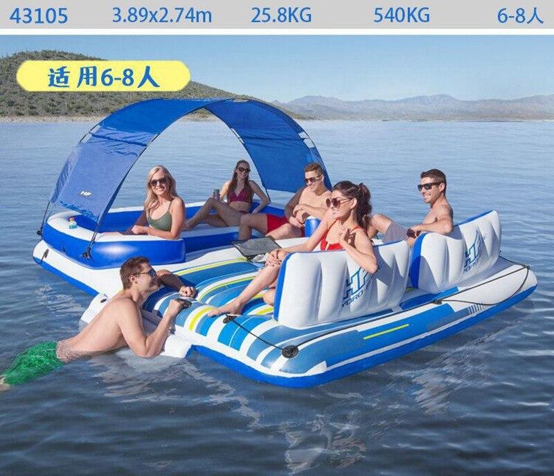 Piscina tropical inflável gigante, 6 pessoas, barco