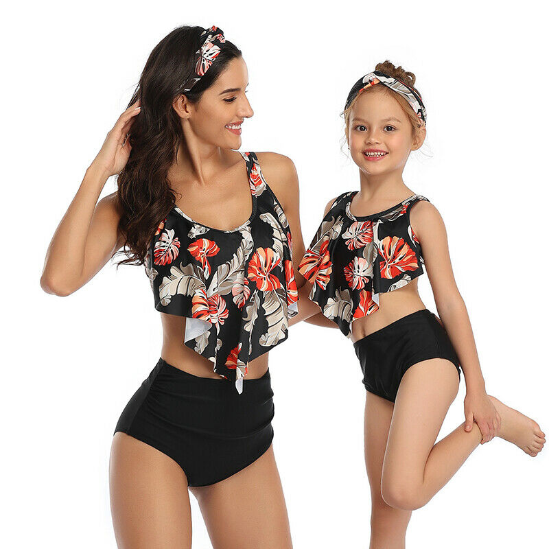 Mommy and Me Matching Swimsuit Family Bikini Sets Ruffle Swimwear Bathing Suit Beachwear for Women Girls