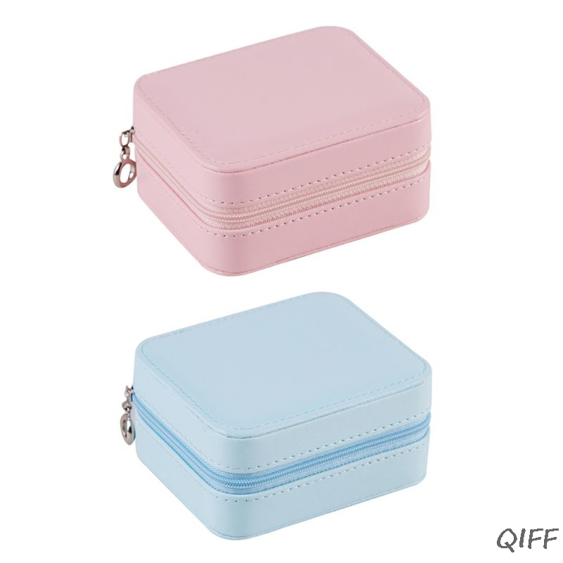 PU Single Layer Simple Portable Jewelry Storage Box Creative Earrings Ear Stud Ring Small Jewellery Case