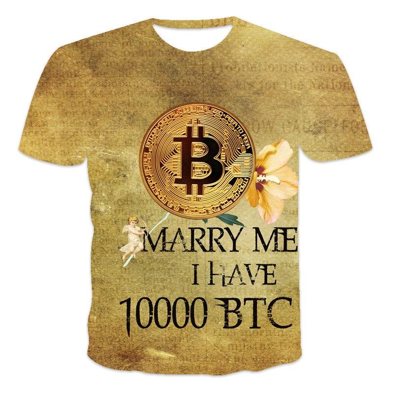 2021 latest design Men's T-shirt Bitcoin humor Letter printing Funny sentences 3D printed T-shirt Men and women Tees BTC series 4