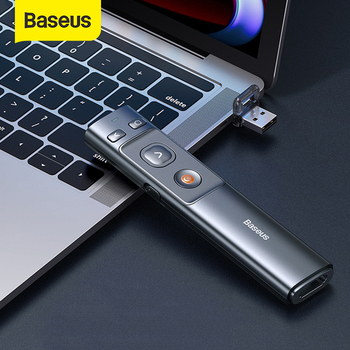 Baseus 2.4GHz Wireless Presenter Remote Controller Red Laser Pen USB Control Pen For Mac Win 10 8 7 XP Projector PowerPoint PPT [avatto] high quality rf 2 4ghz usb air mouse rechargeable powerpoint remote control ppt clicker presentation pointer laser pen