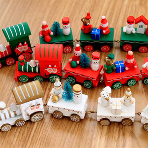 Image 2 - חדש חג המולד רכבת צבוע עץ צעצועי עם סנטה/דוב חג המולד קיד צעצועי מתנת קישוט navidad חג המולד צעצועים לילדים