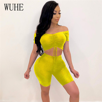 WUHE Sexy Strapless Knitted Bodycon Women Romper Off Shoulder Jumpsuit Two Pieces Drawstring Fitness Sports Bodysuit Short Pants grey casual velvet off shoulder drawstring waist jumpsuit