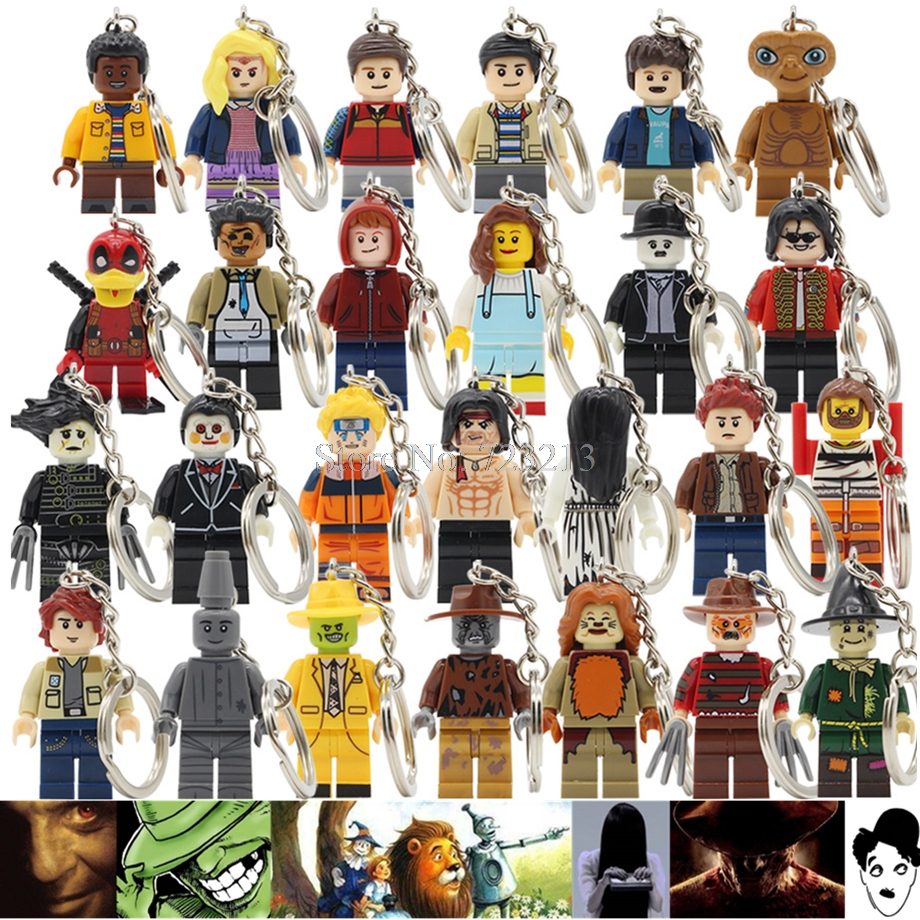 Single Movie Keychain The Ring Mask Figure Stranger Things The Wizard Of OZ Billy Freedy Comedy Dean Building Blocks Toy Legoing