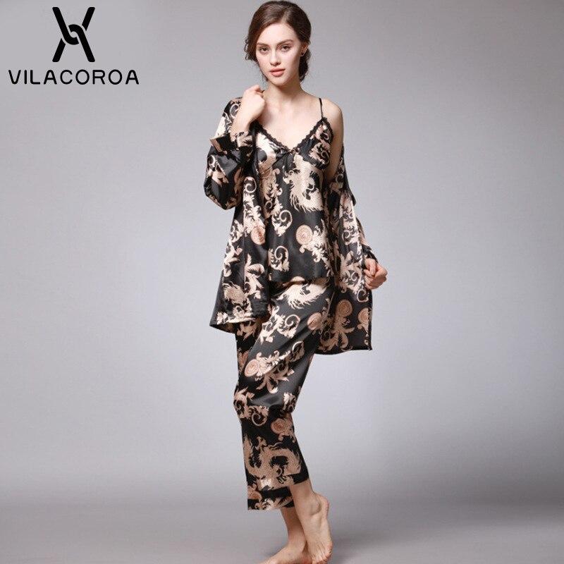 Autumn Fashion Silk Sexy Women's Pajamas Camis + Pant + Robe 3 Piece Sets Family Pajama Set Plus Size Pyjamas Women pijama mujer 50