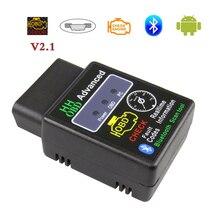Elm327 bluetooth obd2 scanner de diagnóstico do carro para o adaptador android elm 327 v2.1 bluetooth obd 2 leitor de código ferramenta de diagnóstico