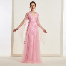 Peach Pink Elegant V Neck Prom Dress Long Sleeves A Line App