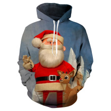 winter baby boy clothes Santa Claus 3D printing hoodie fashion cartoon long-sleeved sweatshirt girl Christmas hooded sweatshirt christmas santa graphic pompon embellished sweatshirt
