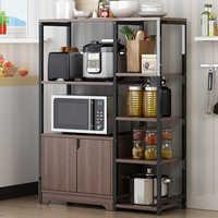 Напольная кухонная полка для хранения с дверцей, многослойная полка для приправ, микроволновая печь, кухонные принадлежности, инструменты, ...