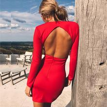 Autumn Sexy dress Women Winter long sleeve Deep V-Neck hollow out backless Mini sheath dresses 2019 New drop shipping