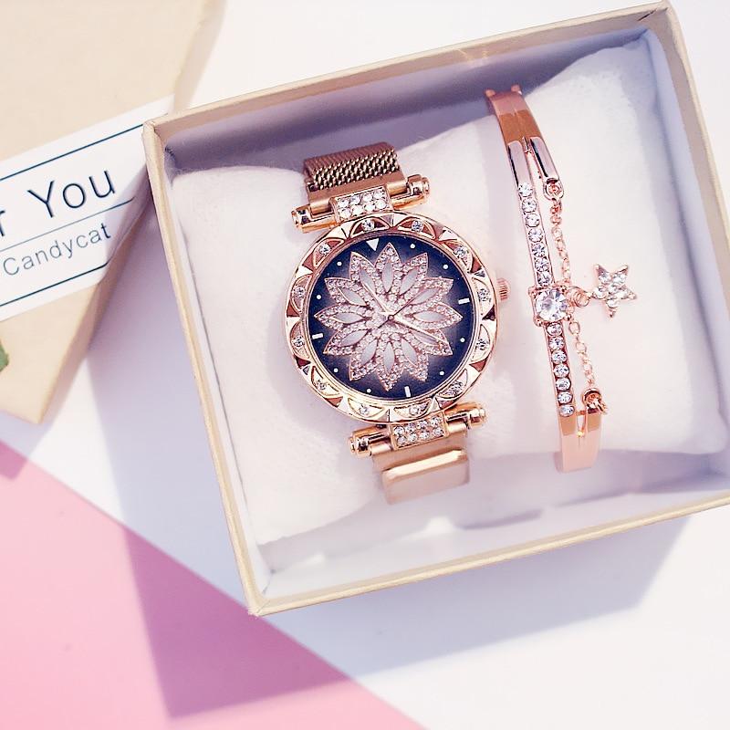 2PCS Watches Set Luxury Magnetic Watches For Women Lucky Fashion Ladies Geometric Surface Quartz Clock Reloj Zegarek Damski