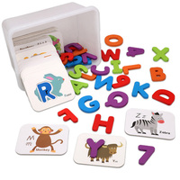 1 SET Alphanumeric Paired Card Set Educational Wooden Toy English Cognitive Puzzle Child Gift
