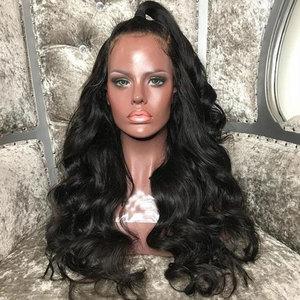 Image 2 - Bombshell שחור עמוק גל תחרה סינתטית עמידות בחום סיבים טבעי קו שיער צד פרידה לאפריקני אמריקאי נשים